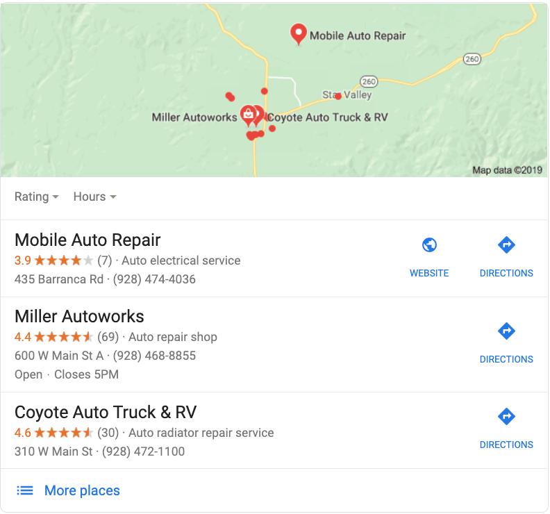 Google Map Listing Payson Arizona